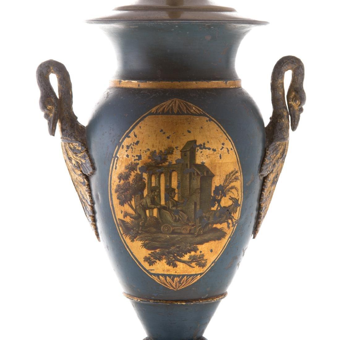 Pair Victorian toleware vases - 4