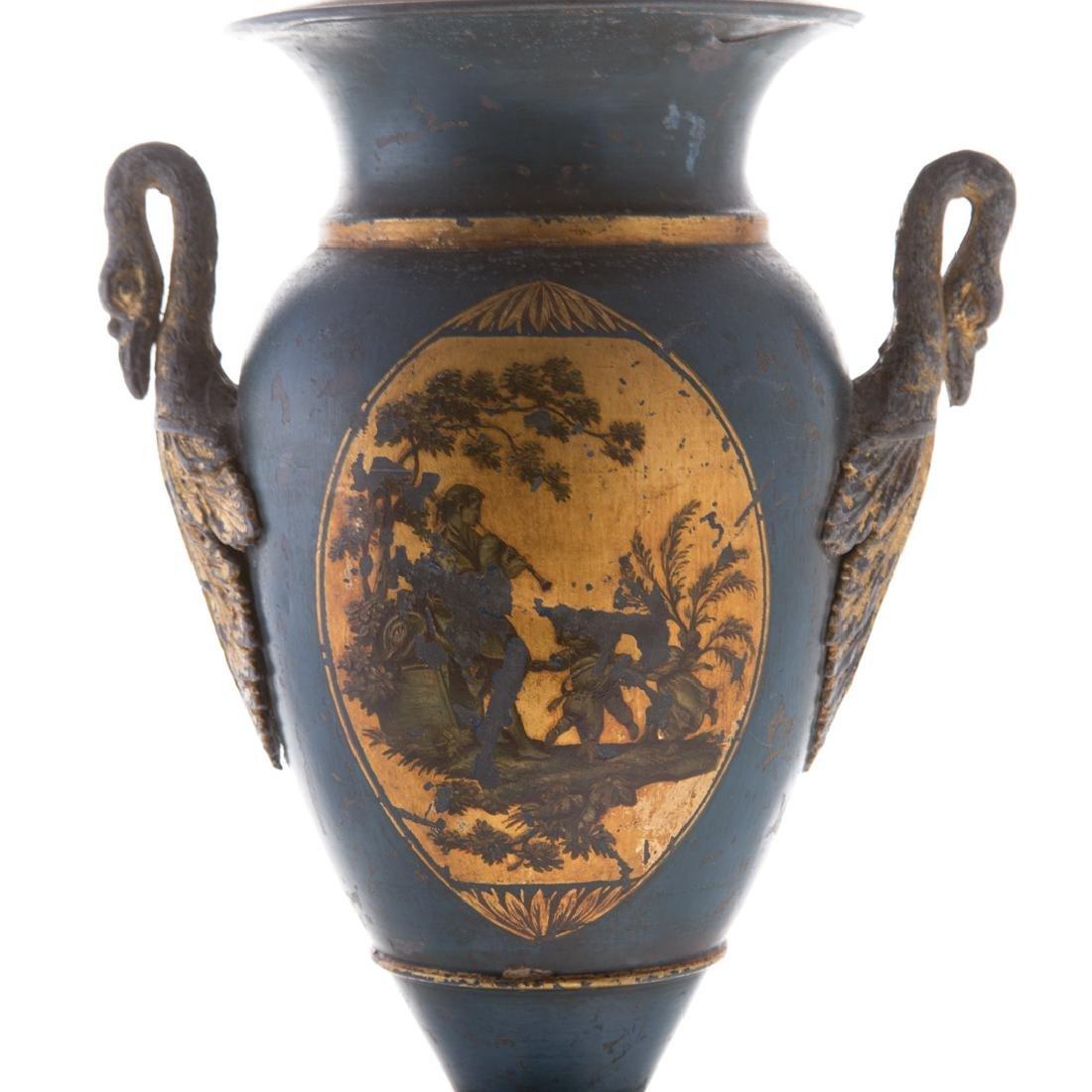 Pair Victorian toleware vases - 5