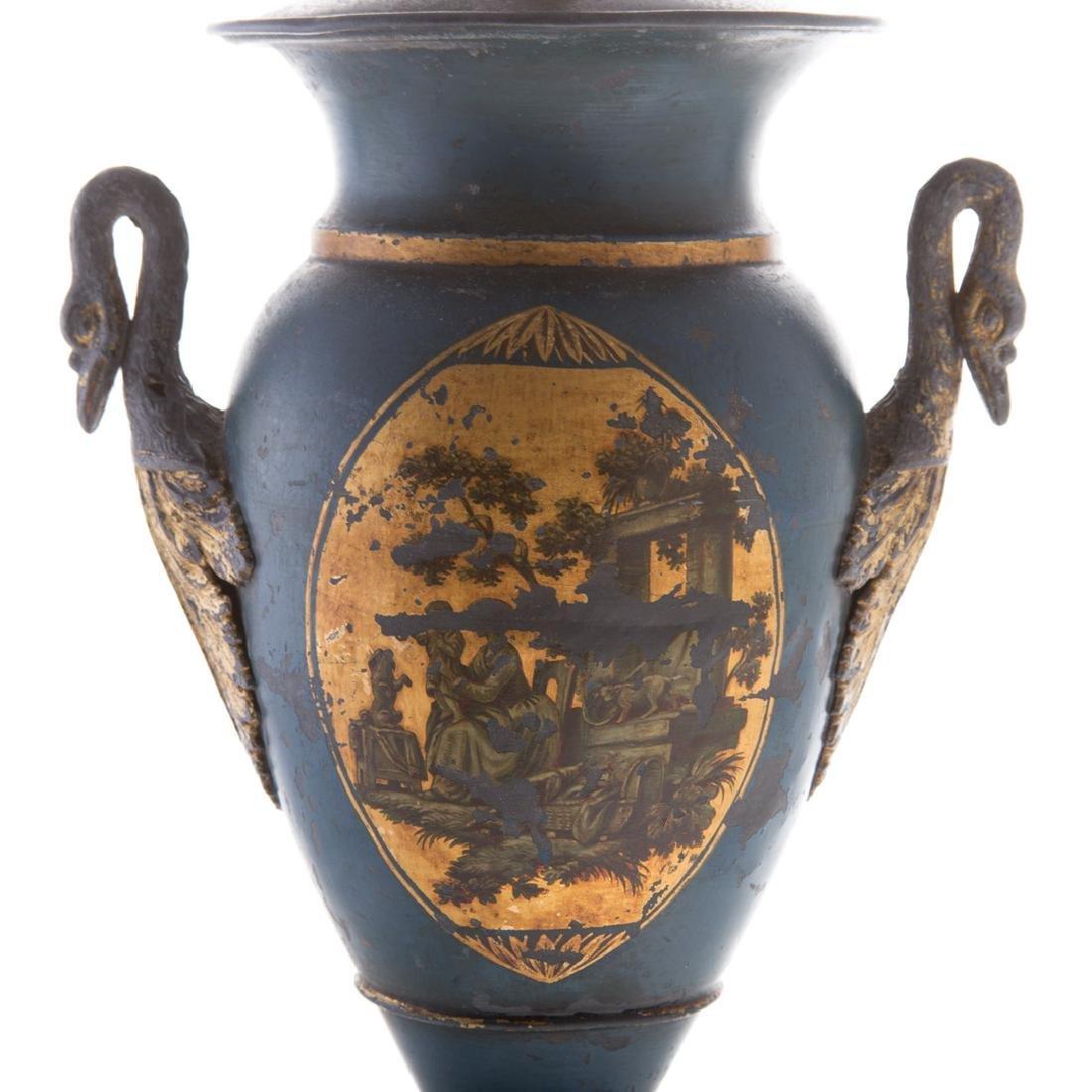 Pair Victorian toleware vases - 6