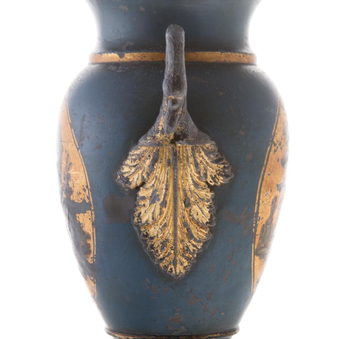 Pair Victorian toleware vases - 7
