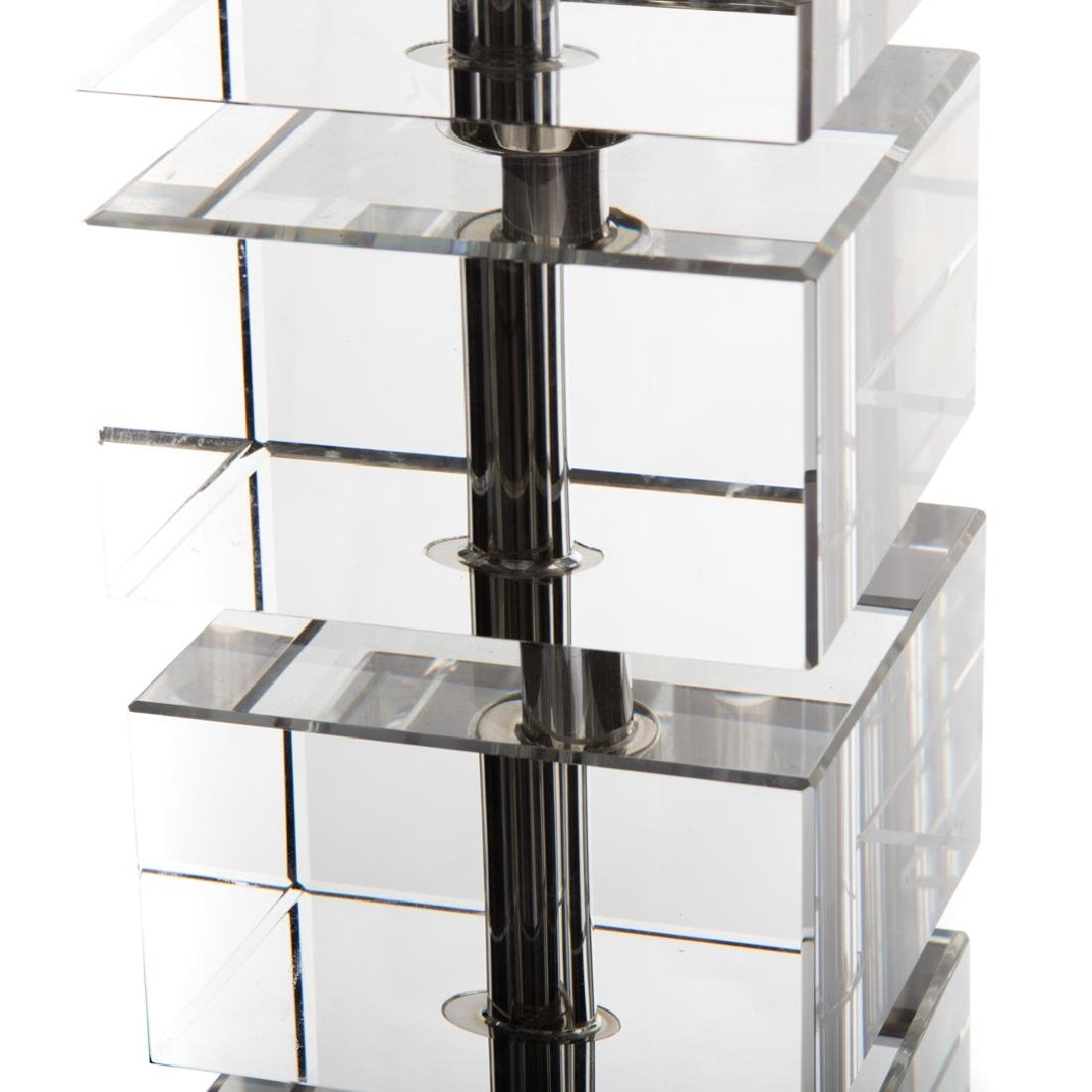 Contemporary glass and chrome table lamp - 3
