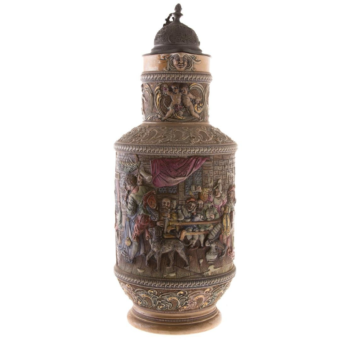 Large German pewter-mounted salt glazed flagon