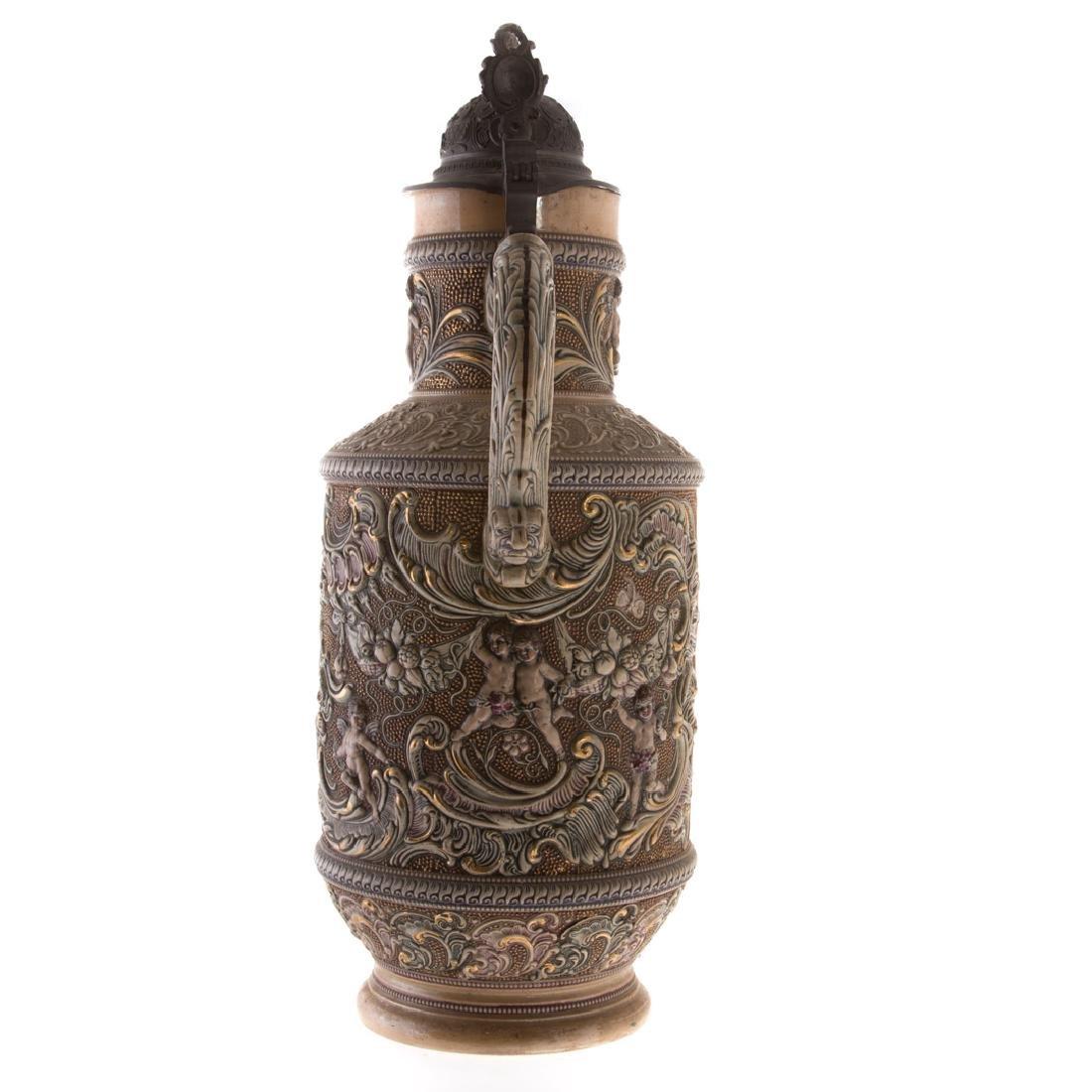 Large German pewter-mounted salt glazed flagon - 3