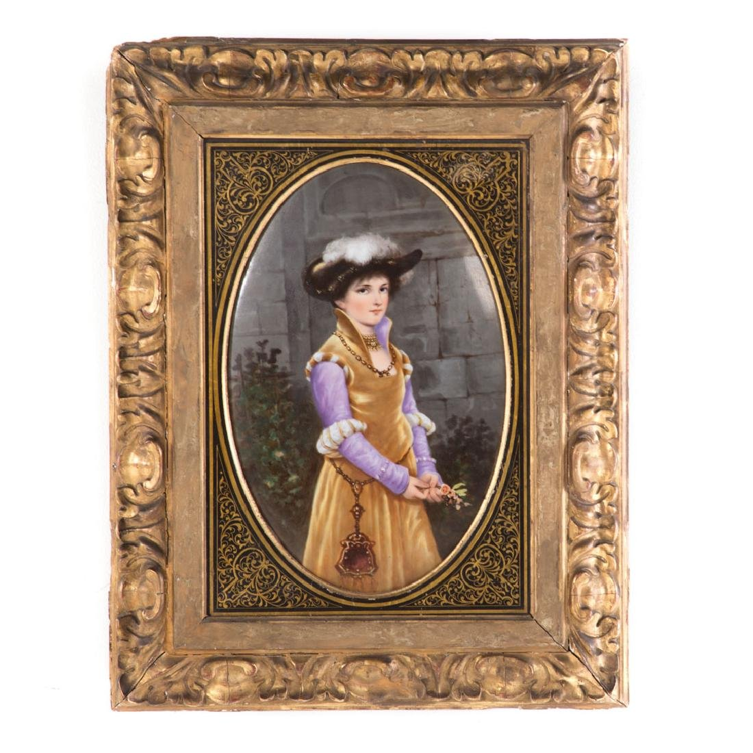 German painted porcelain plaque by Thallmaier