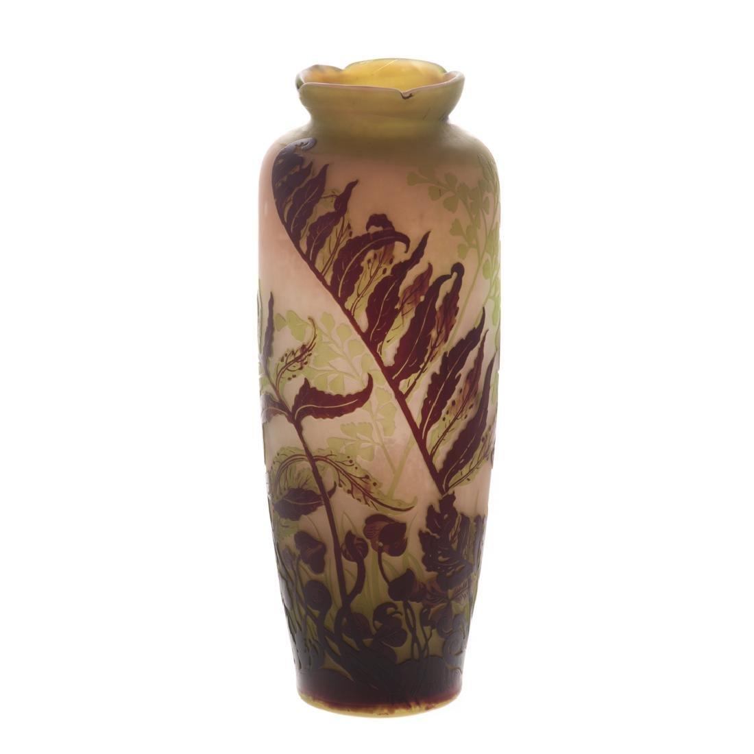 Emile Galle acid etched cameo glass vase