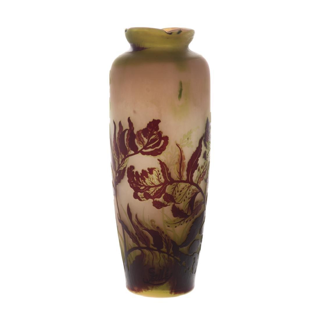 Emile Galle acid etched cameo glass vase - 3