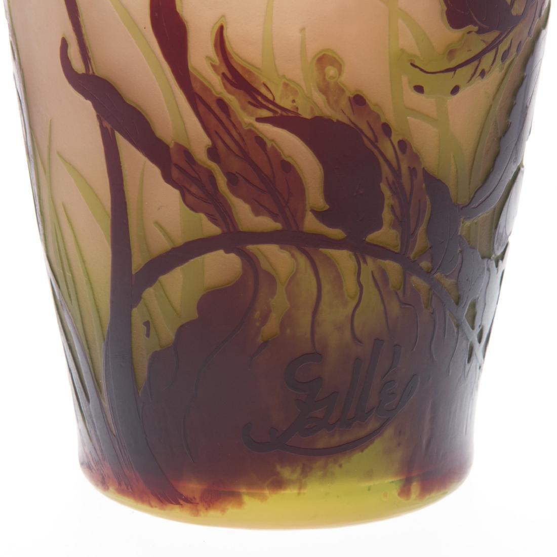 Emile Galle acid etched cameo glass vase - 6
