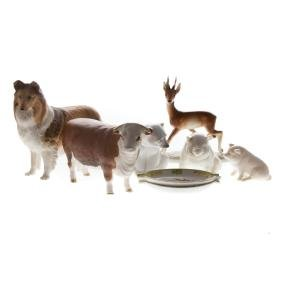 Six English and continental ceramic animals