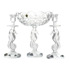 Waterford crystal Seahorse compote/candlesticks