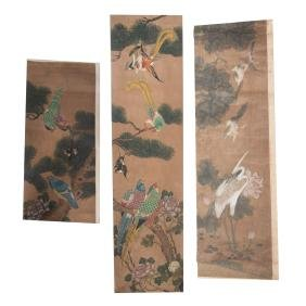 Four Chinese scroll sections
