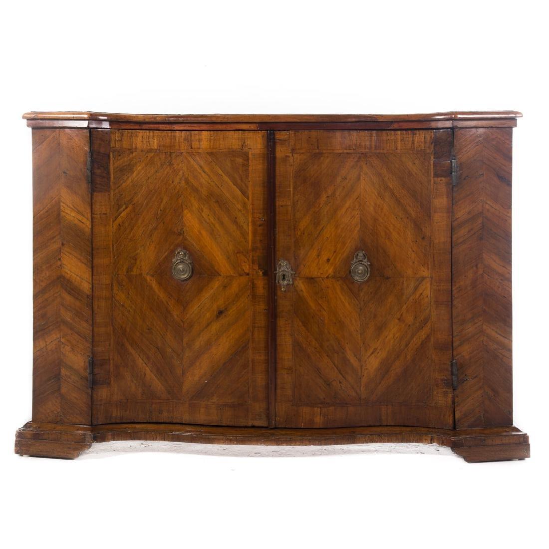 Continental parquetry walnut cabinet