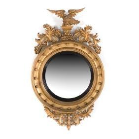 Classical Revival gilt wood convex mirror