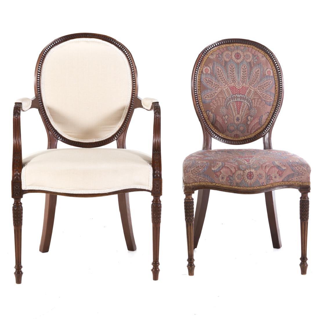 Eight George III style mahogany dining chairs - 4