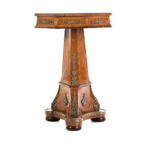 Empire style mahogany brass mounted side table