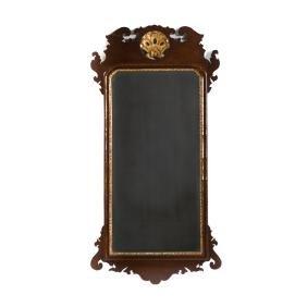 Chippendale mahogany & parcel gilt mirror