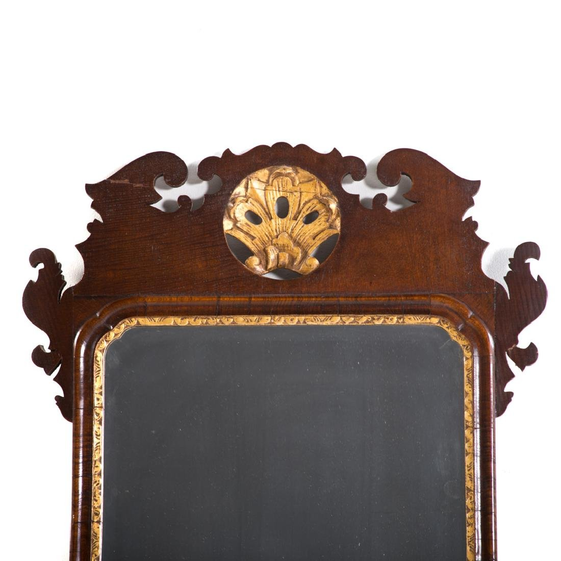 Chippendale mahogany & parcel gilt mirror - 2