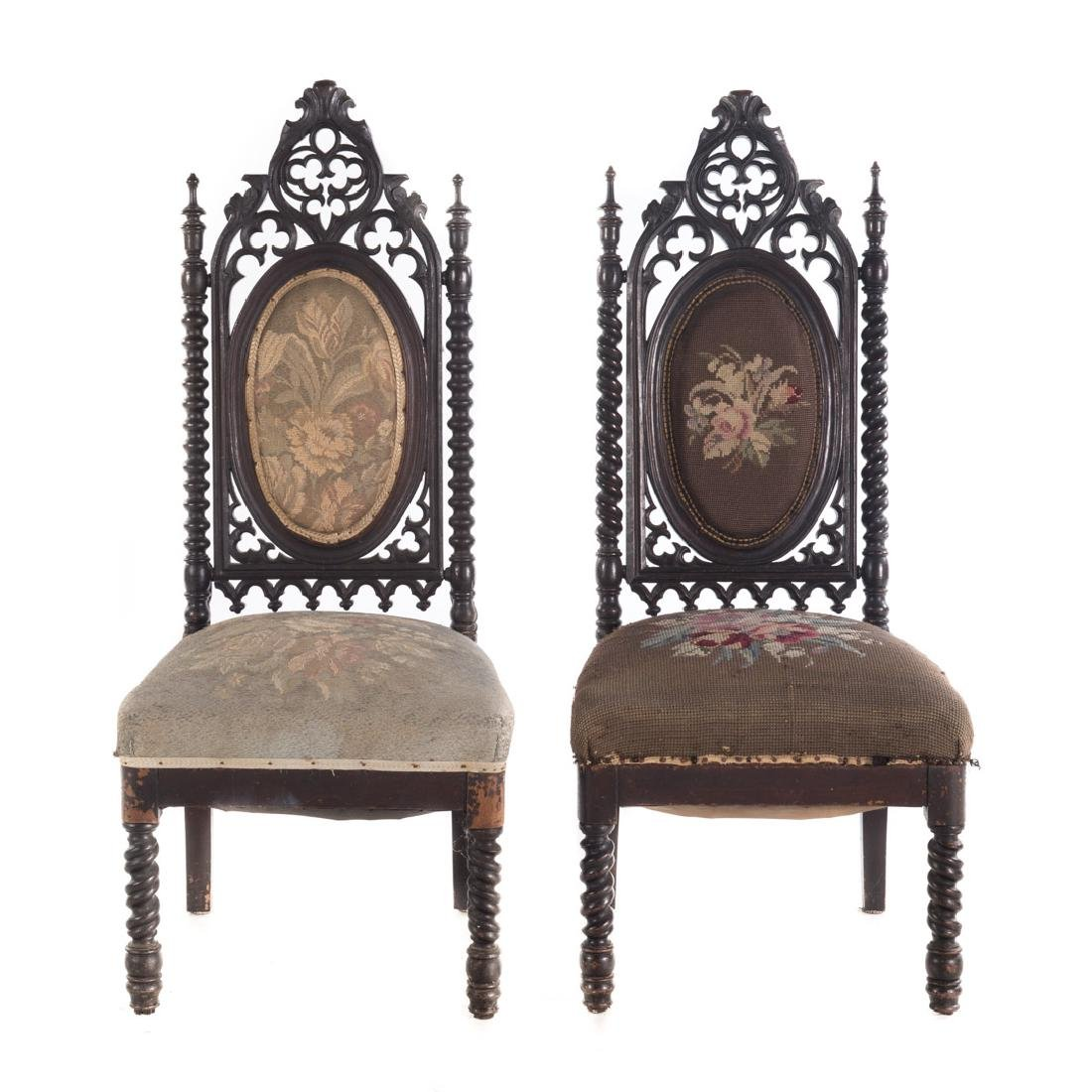 Pair of Gothic Revival walnut side chairs