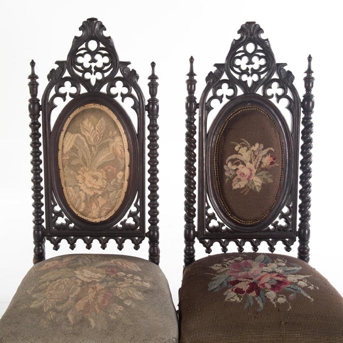 Pair of Gothic Revival walnut side chairs - 2