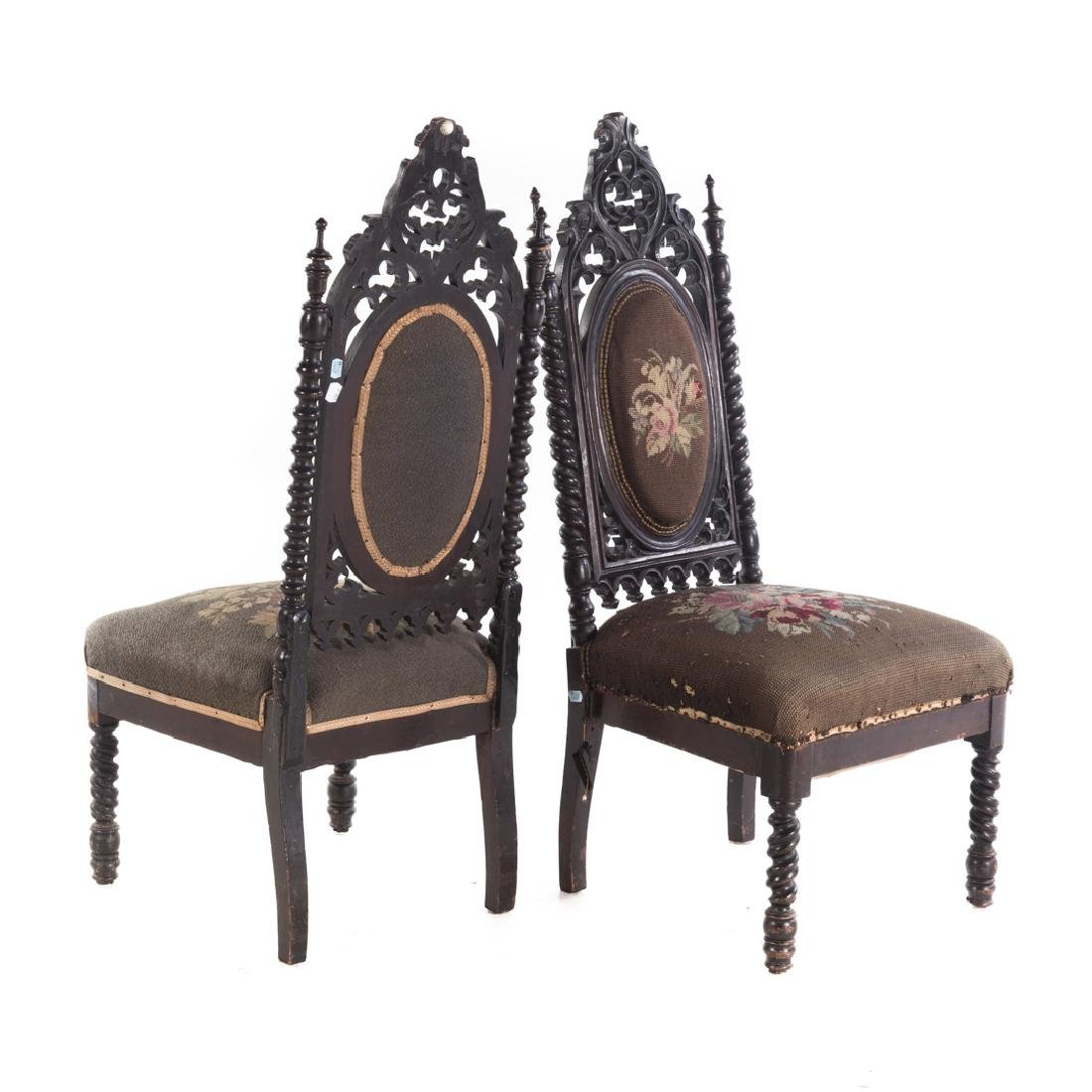 Pair of Gothic Revival walnut side chairs - 3
