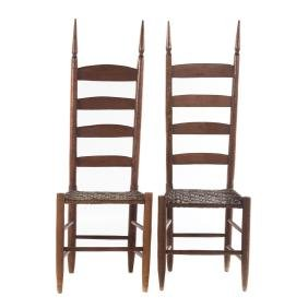 Pair of American cherry vernacular side chairs