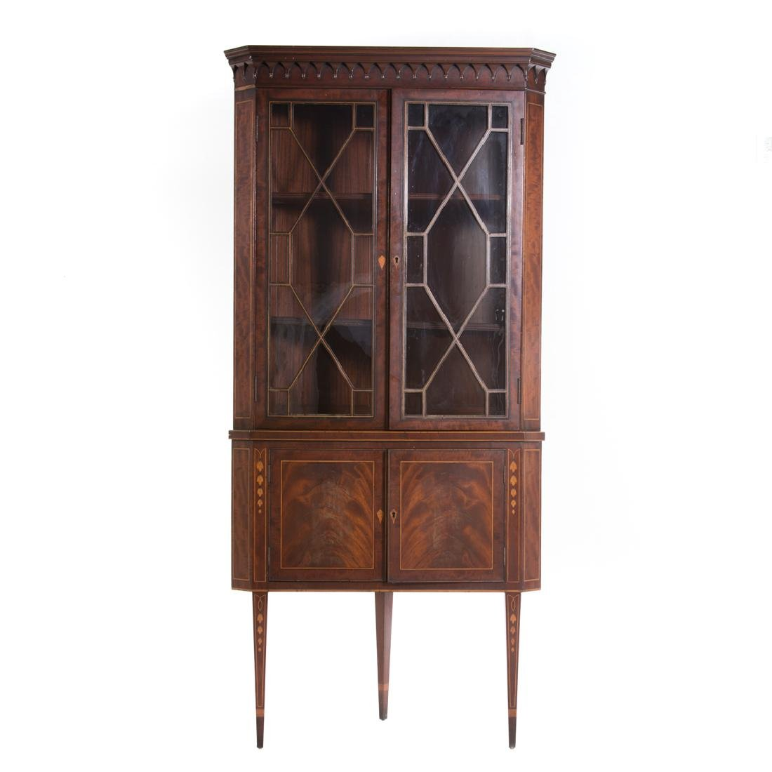 Federal style inlaid mahogany corner cabinet