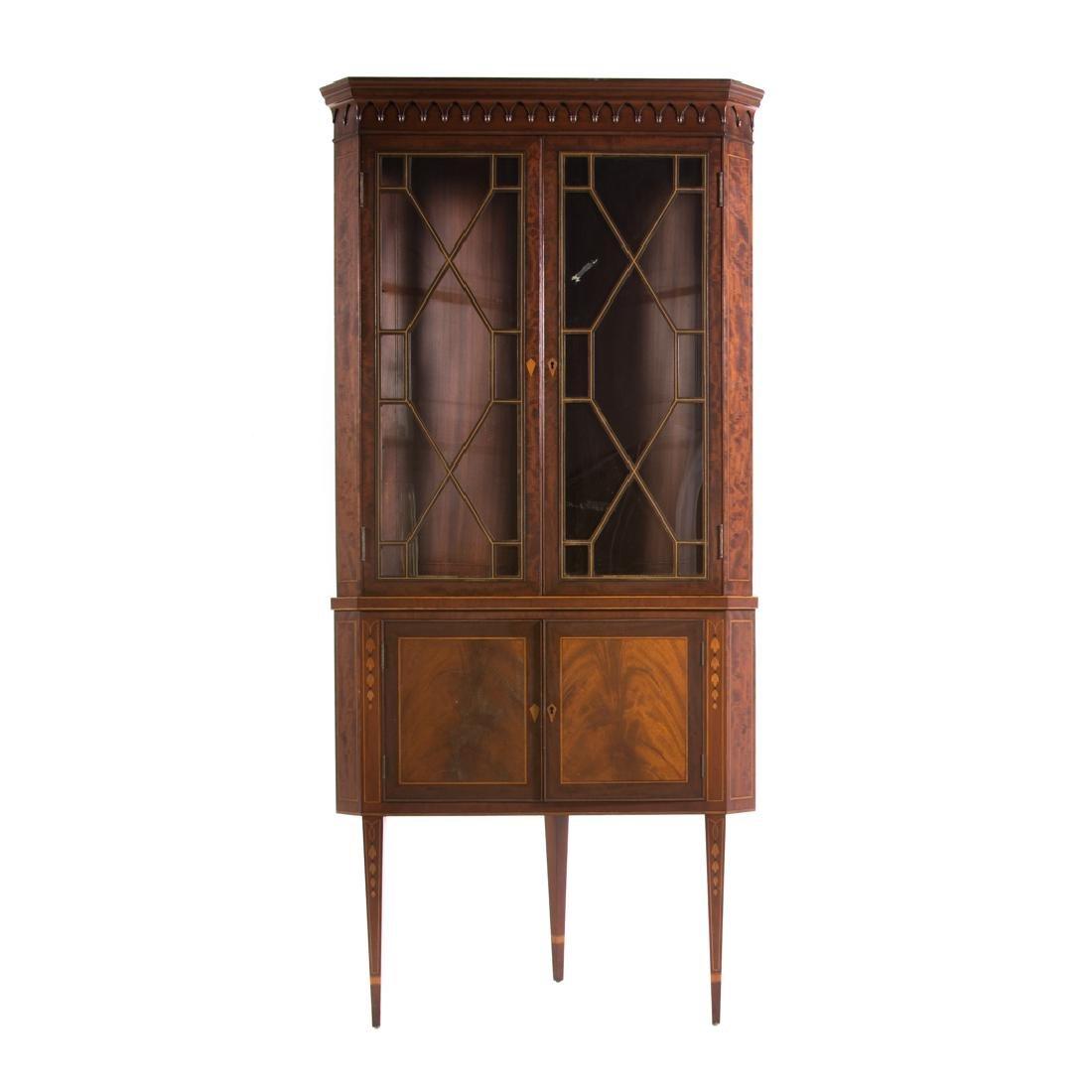 Federal style inlaid mahogany corner cabinet