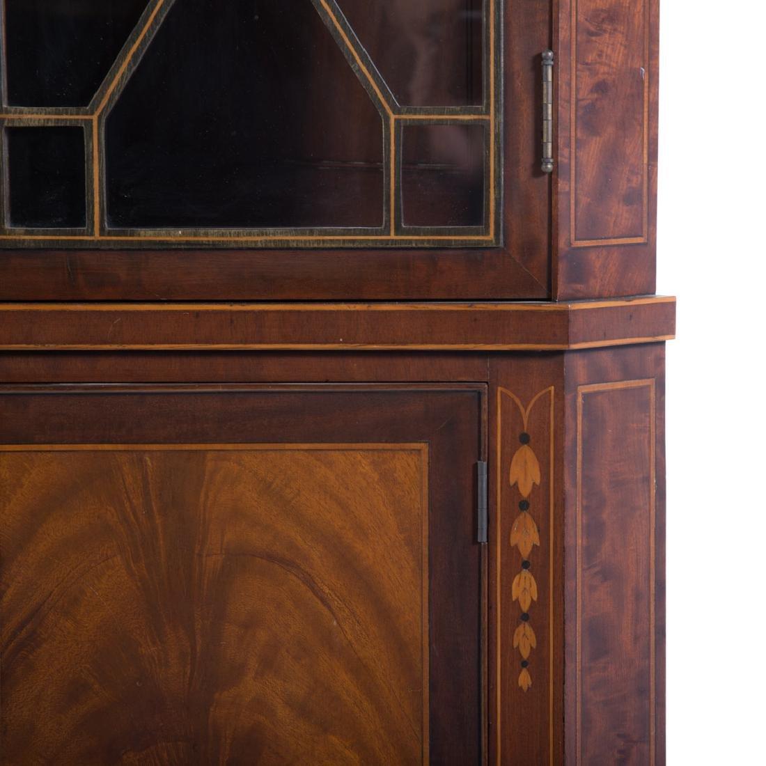 Federal style inlaid mahogany corner cabinet - 2