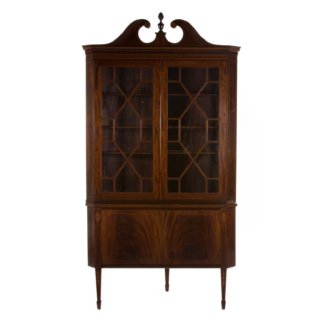 Potthast Federal style mahogany corner cabinet
