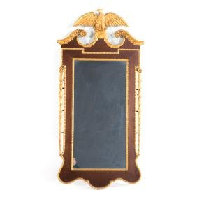 Chippendale style mahogany & parcel gilt mirror