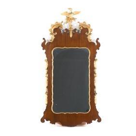 George II style mahogany & parcel gilt mirror