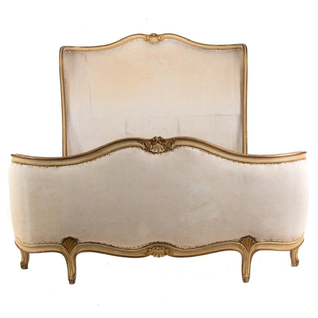 Louis XV style painted & parcel gilt bedstead