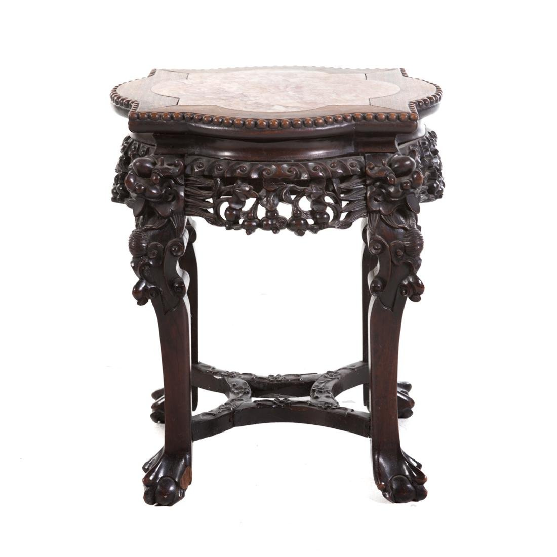 Chinese carved hardwood fern stand