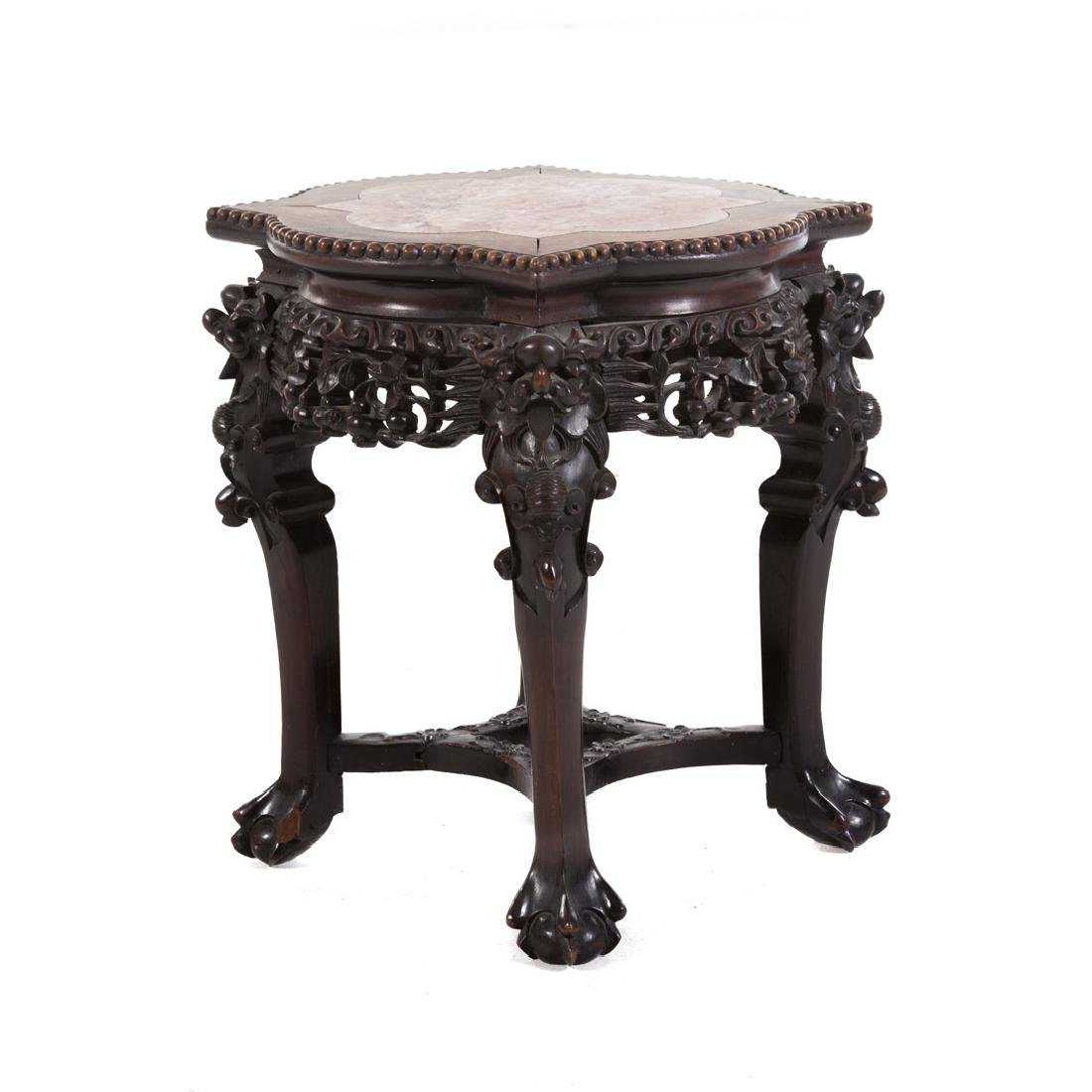 Chinese carved hardwood fern stand - 2