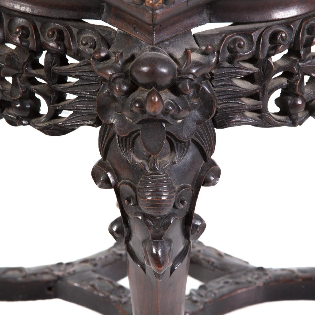 Chinese carved hardwood fern stand - 4