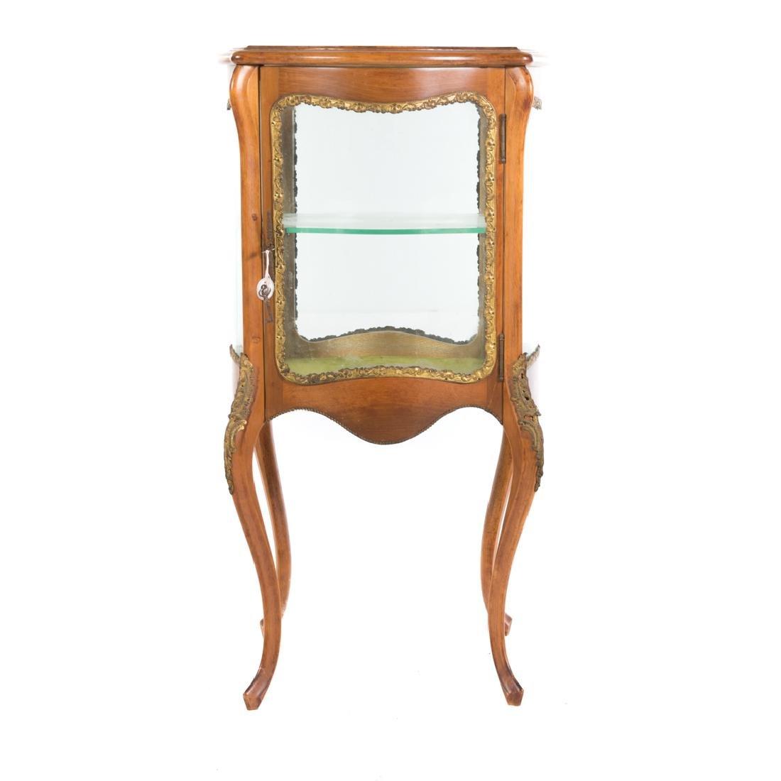 Louis XV style fruitwood brass mounted vitrine