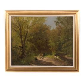 Herman Herzog. Cattle Led Through a Landscape, oil