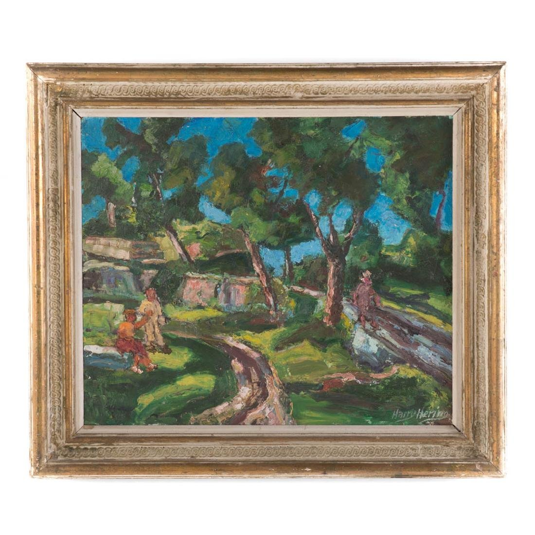 """Harry Hering. """"Central Park, NYC,"""" oil on board"""