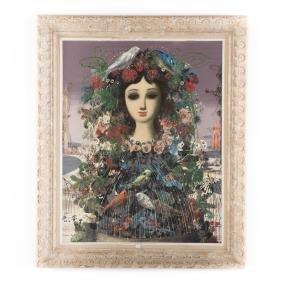 Jean Calogero. Woman with Birds, oil on canvas