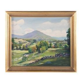 """Gilbert Haven Smith. """"Vermont Meadows..."""" oil"""