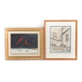 Ronald Reillo. Two framed artworks, one an oil