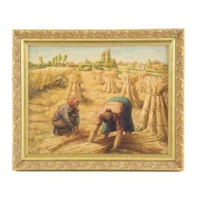 Marcel Boussery. Harvesting Wheat, oil
