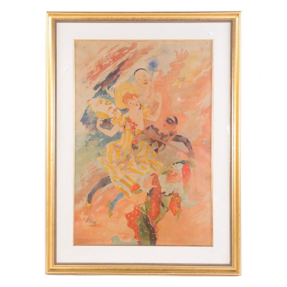 """Jules Cheret. """"Le Comedie,"""" color lithograph"""