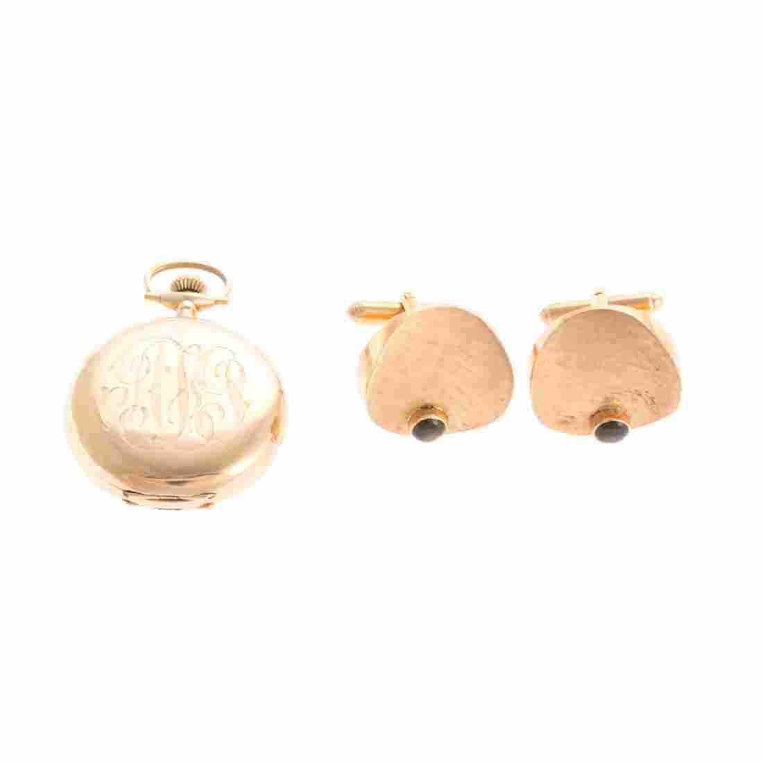 A Gold Waltham Pocket Watch & Gold Cufflinks