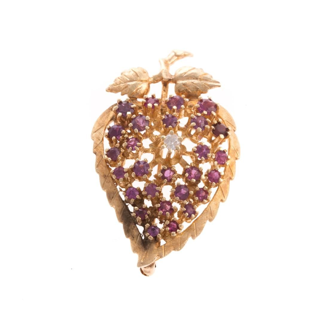 A Lady's Ruby and Diamond Brooch in 14K Gold