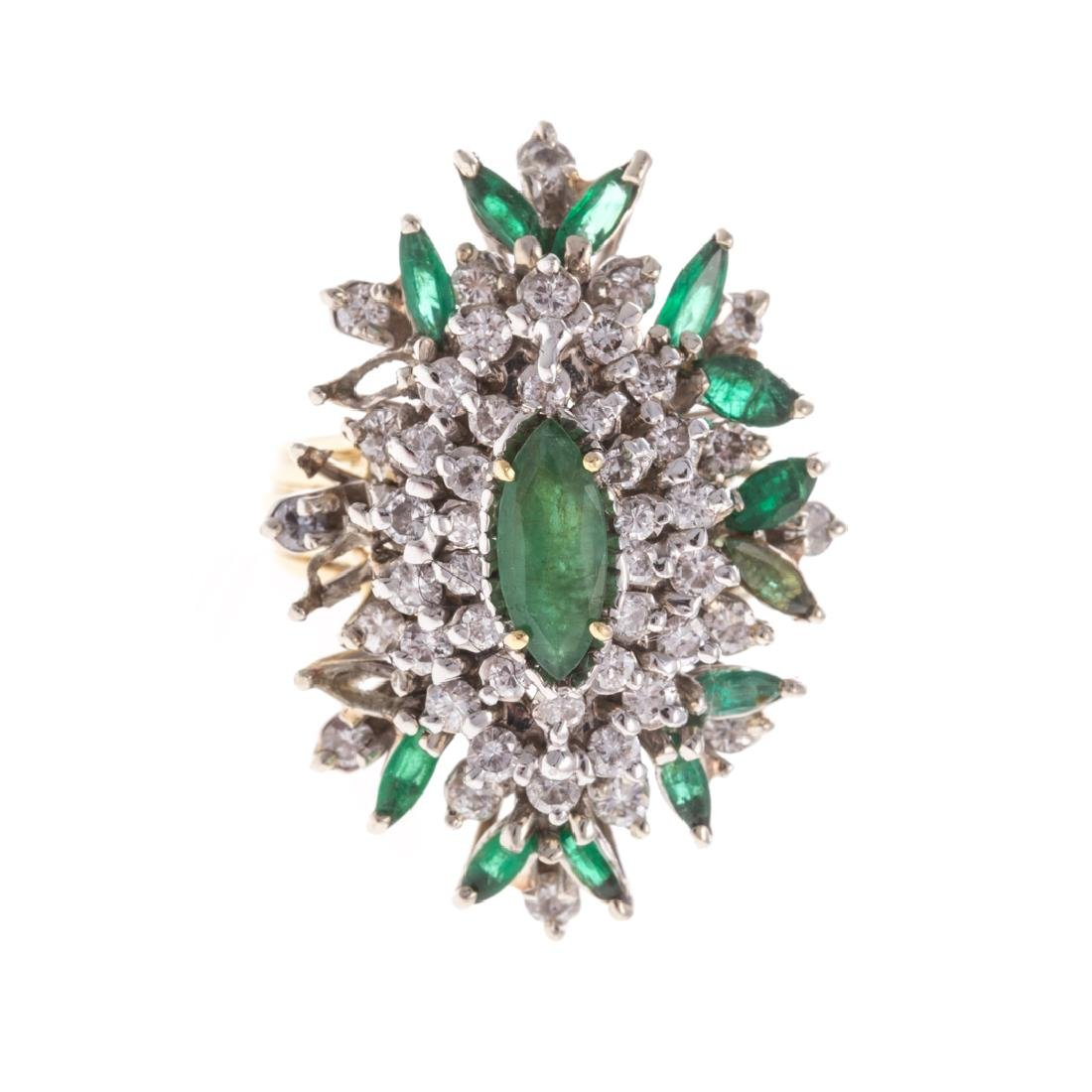 A Lady's 14K Emerald and Diamond Cocktail Ring