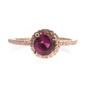 A Lady's Ruby & Diamond Ring In 14k Rose Gold