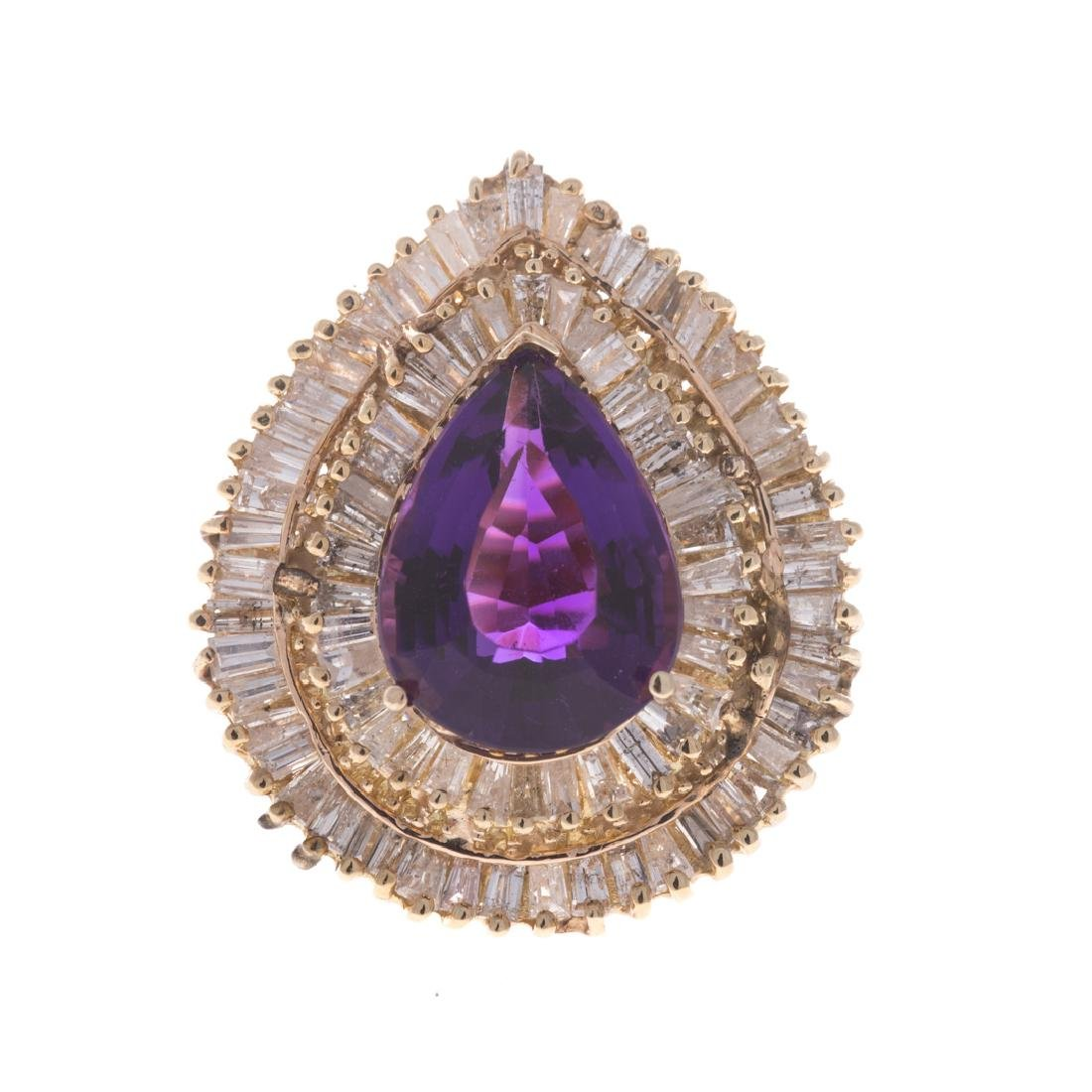 A Lady's 14K Amethyst and Diamond Cocktail Ring