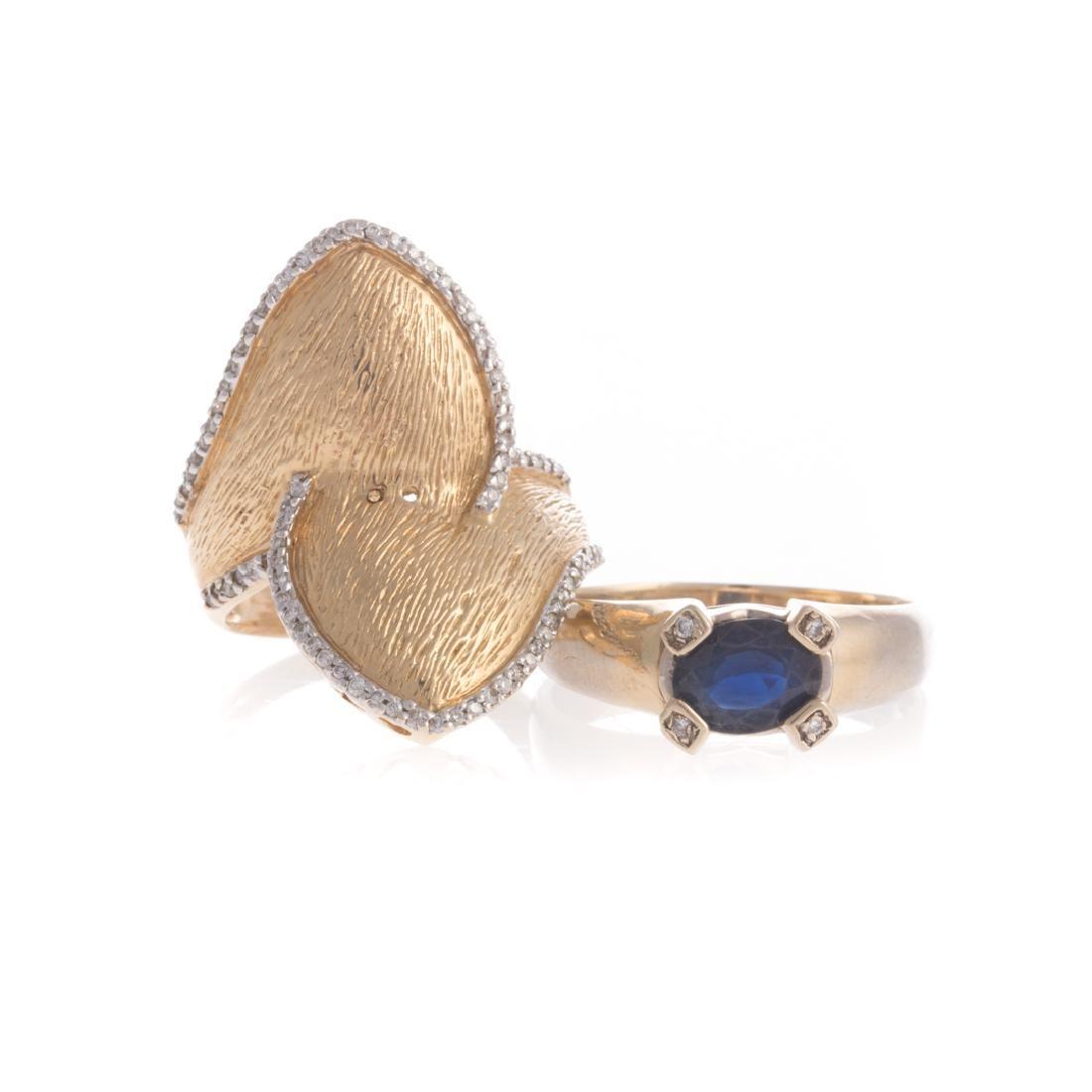 A Pair of Lady's Gold Gemstone & Diamond Rings