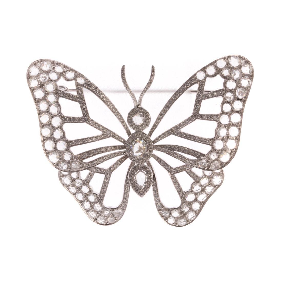 An Impressive Rose Cut Diamond Butterfly Brooch