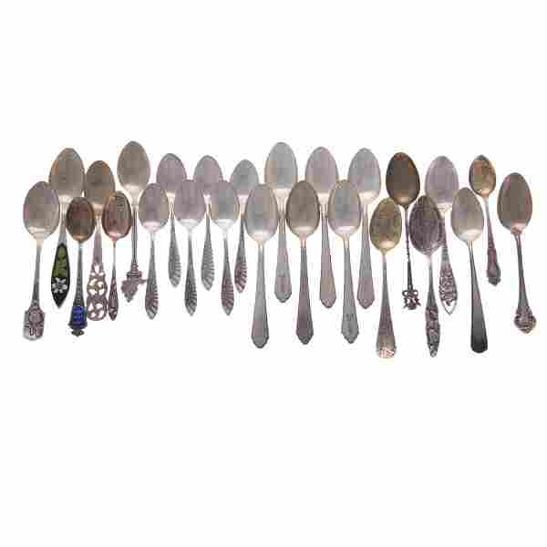 Collection of sterling demitasse & souvenir spoons